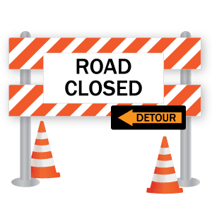 Road Closed Detour sign