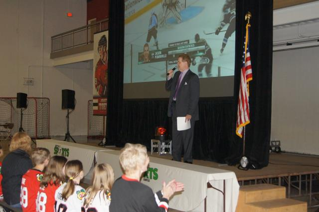 Chet Coppock addresses the crowd at Libertyville Sports Complex Blackhawks Roadwatch Party April 9 2013