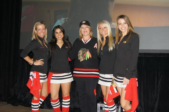 Cindy of Lindenhurst Fan of the Game and Ice Crew Girls at Blackhawks Roadwatch Party at Libertyville Sports Complex April 9 2013