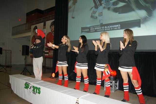 Salute to Hawks fans by Ice Crew Girls at Blackhawks Roadwatch Party at Libertyville Sports Complex April 9 2013