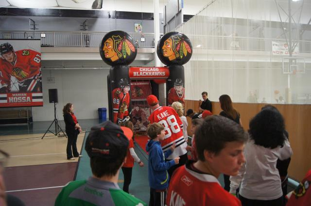 Shoot the Puck at Blackhawks Roadwatch Party at the Libertyville Sports Complex April 9 2103